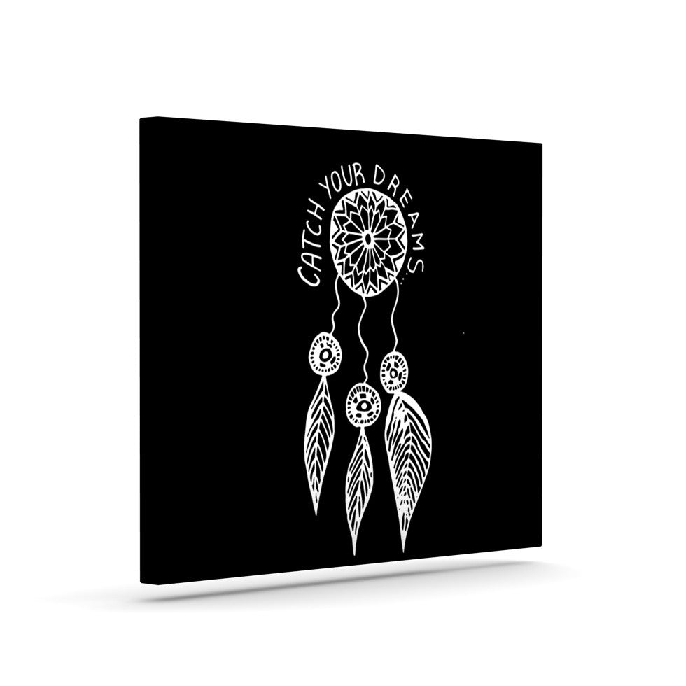 "Vasare Nar ""Catch Your Dreams Black"" White Typography Canvas Art - KESS InHouse  - 1"