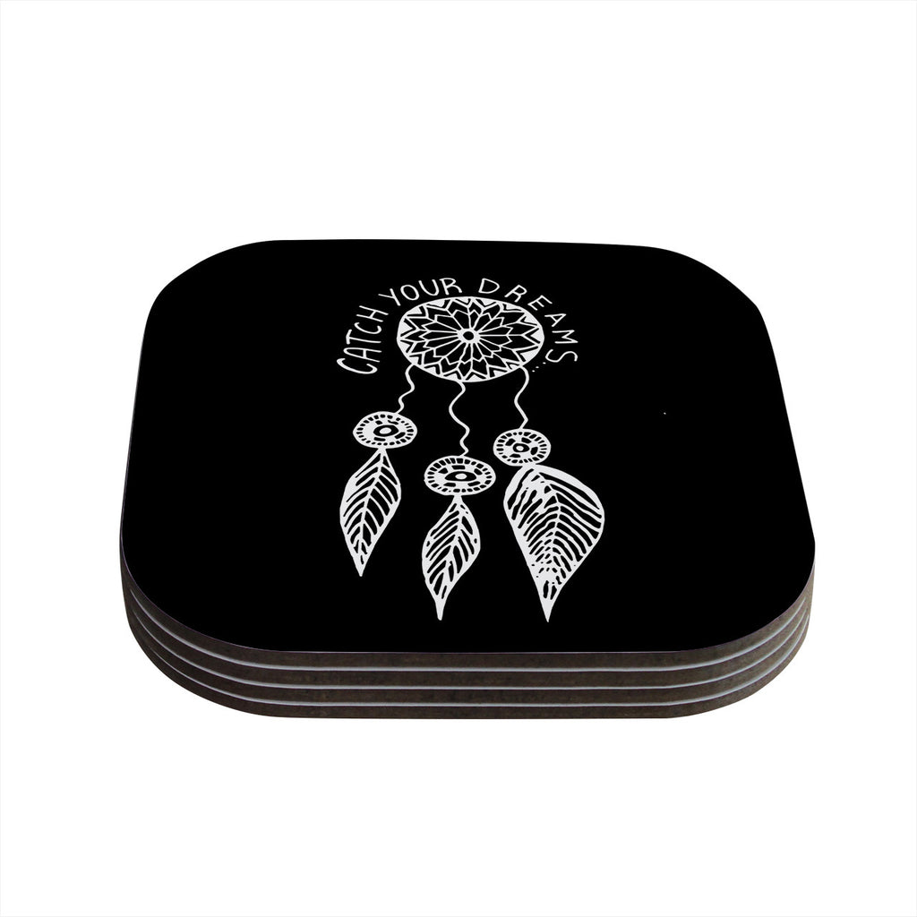 "Vasare Nar ""Catch Your Dreams Black"" White Typography Coasters (Set of 4)"