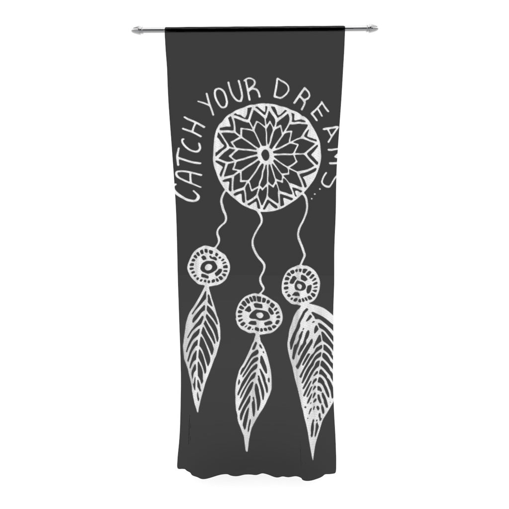 "Vasare Nar ""Catch Your Dreams Black"" White Typography Decorative Sheer Curtain - KESS InHouse"