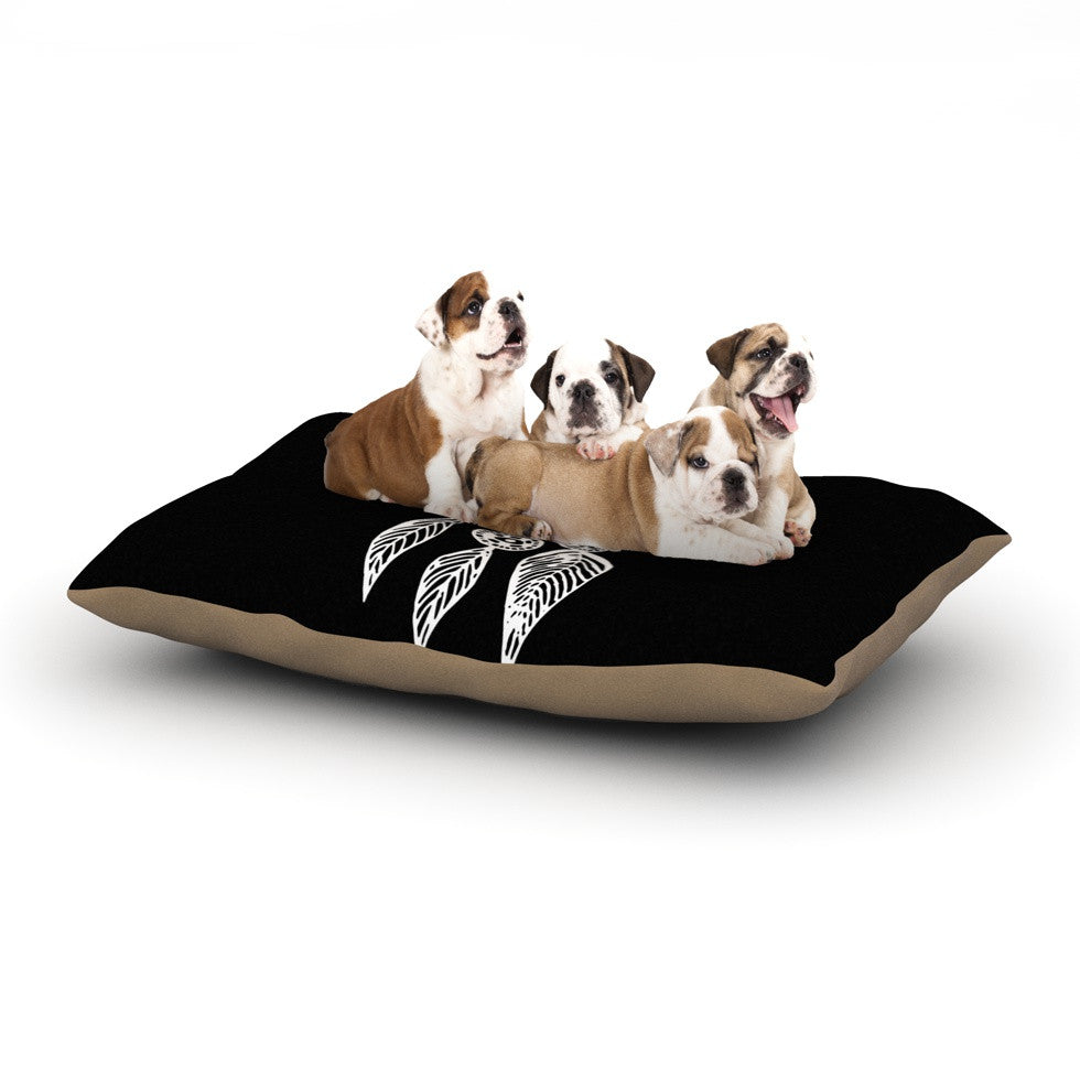 "Vasare Nar ""Catch Your Dreams Black"" White Typography Dog Bed - KESS InHouse  - 1"