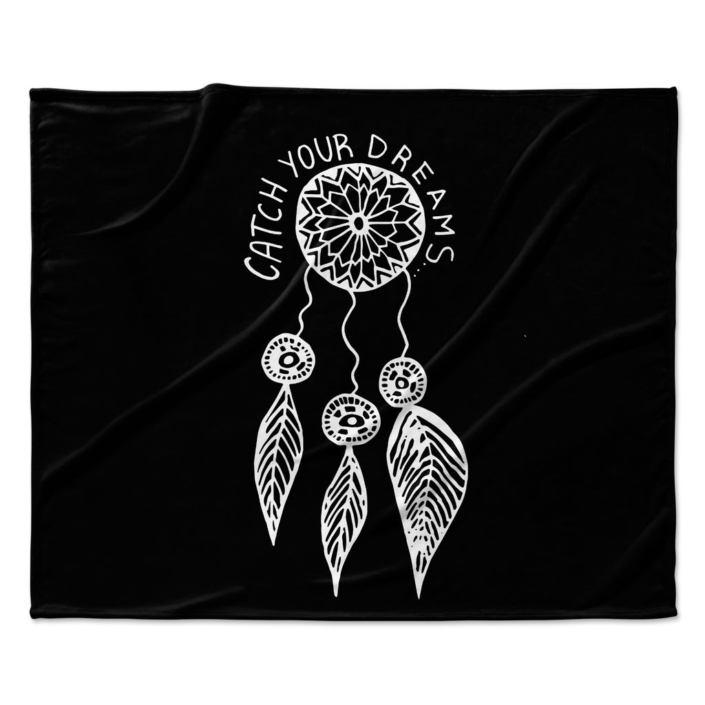 "Vasare Nar ""Catch Your Dreams Black"" White Typography Fleece Throw Blanket"