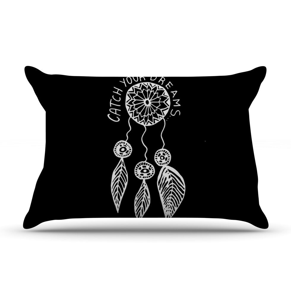 "Vasare Nar ""Catch Your Dreams Black"" White Typography Pillow Sham - KESS InHouse"