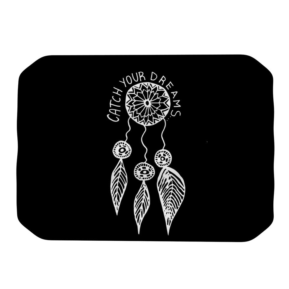 "Vasare Nar ""Catch Your Dreams Black"" White Typography Place Mat - KESS InHouse"