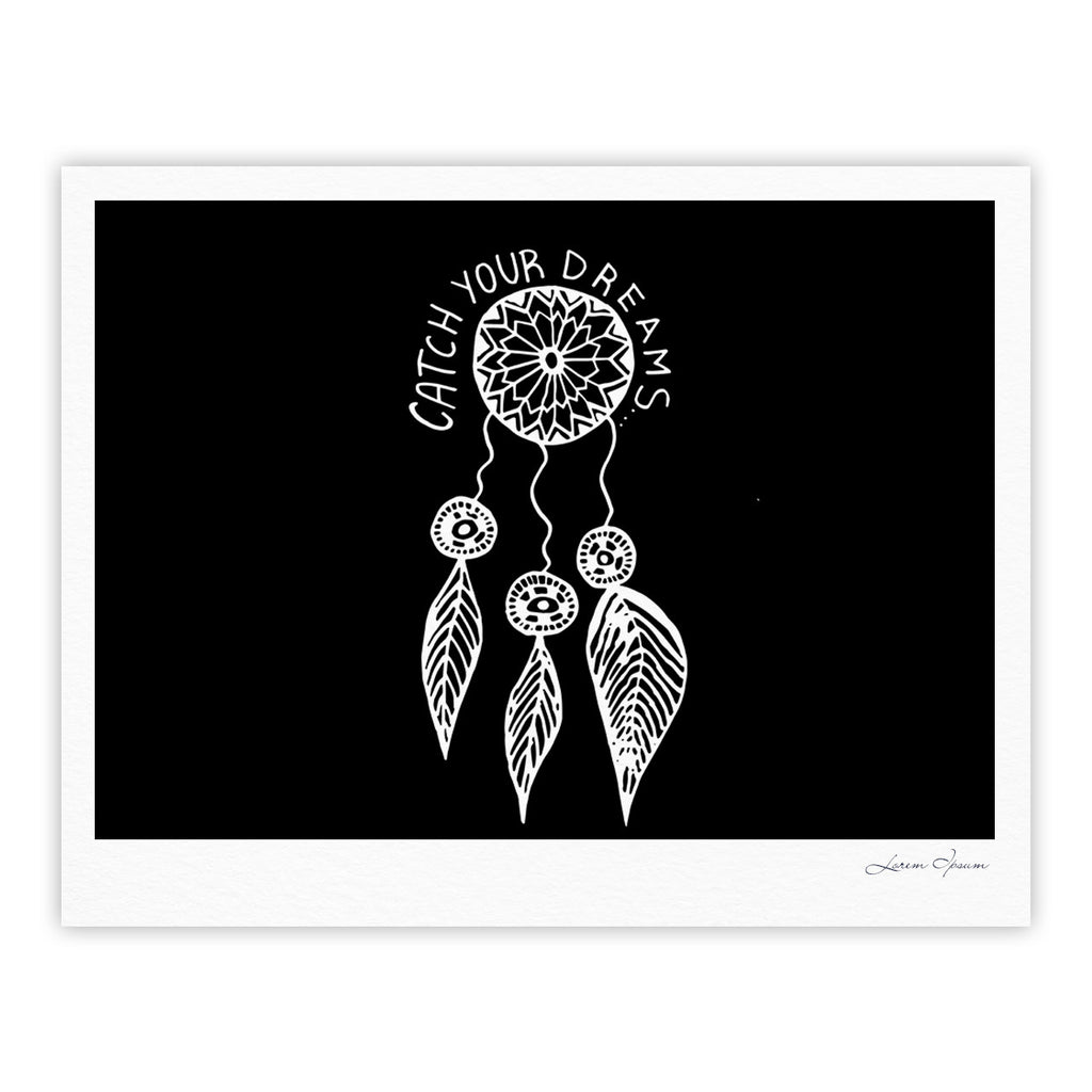 "Vasare Nar ""Catch Your Dreams Black"" White Typography Fine Art Gallery Print - KESS InHouse"
