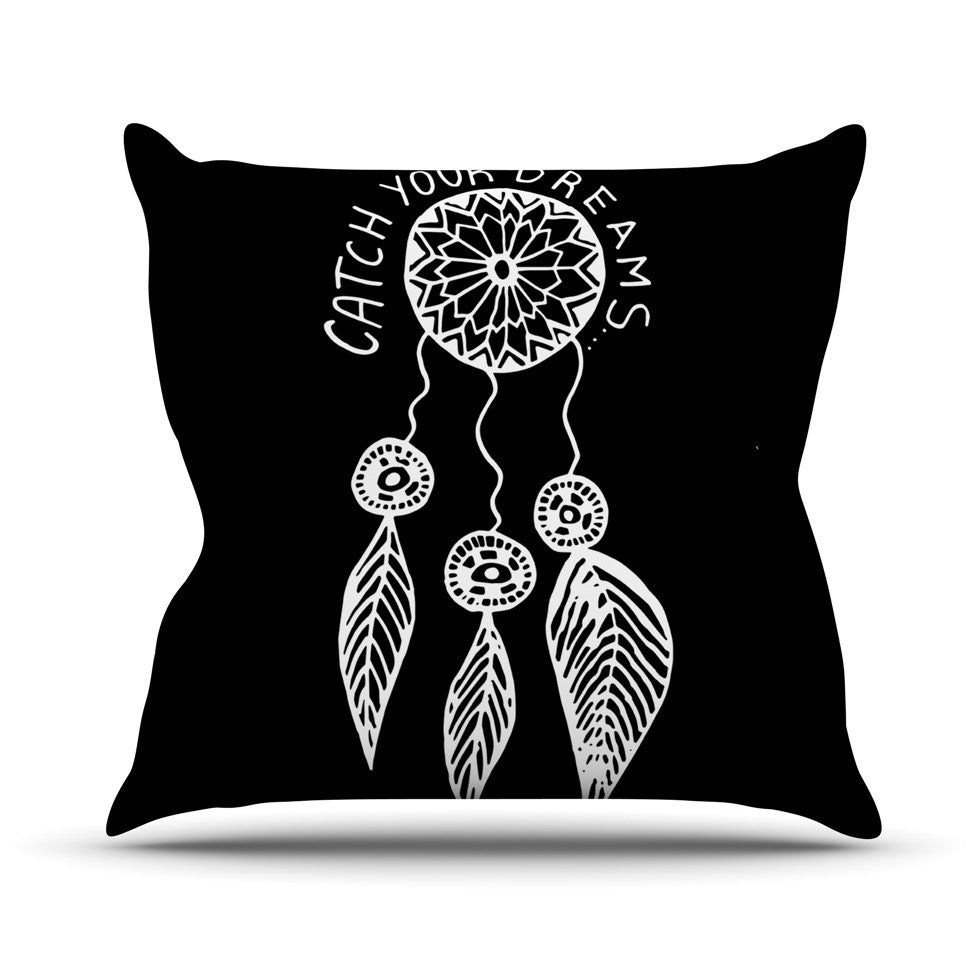 "Vasare Nar ""Catch Your Dreams Black"" White Typography Outdoor Throw Pillow - KESS InHouse  - 1"
