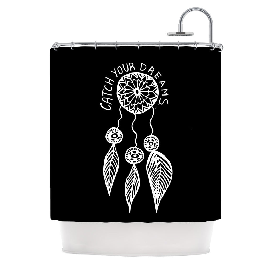 "Vasare Nar ""Catch Your Dreams Black"" White Typography Shower Curtain - KESS InHouse"