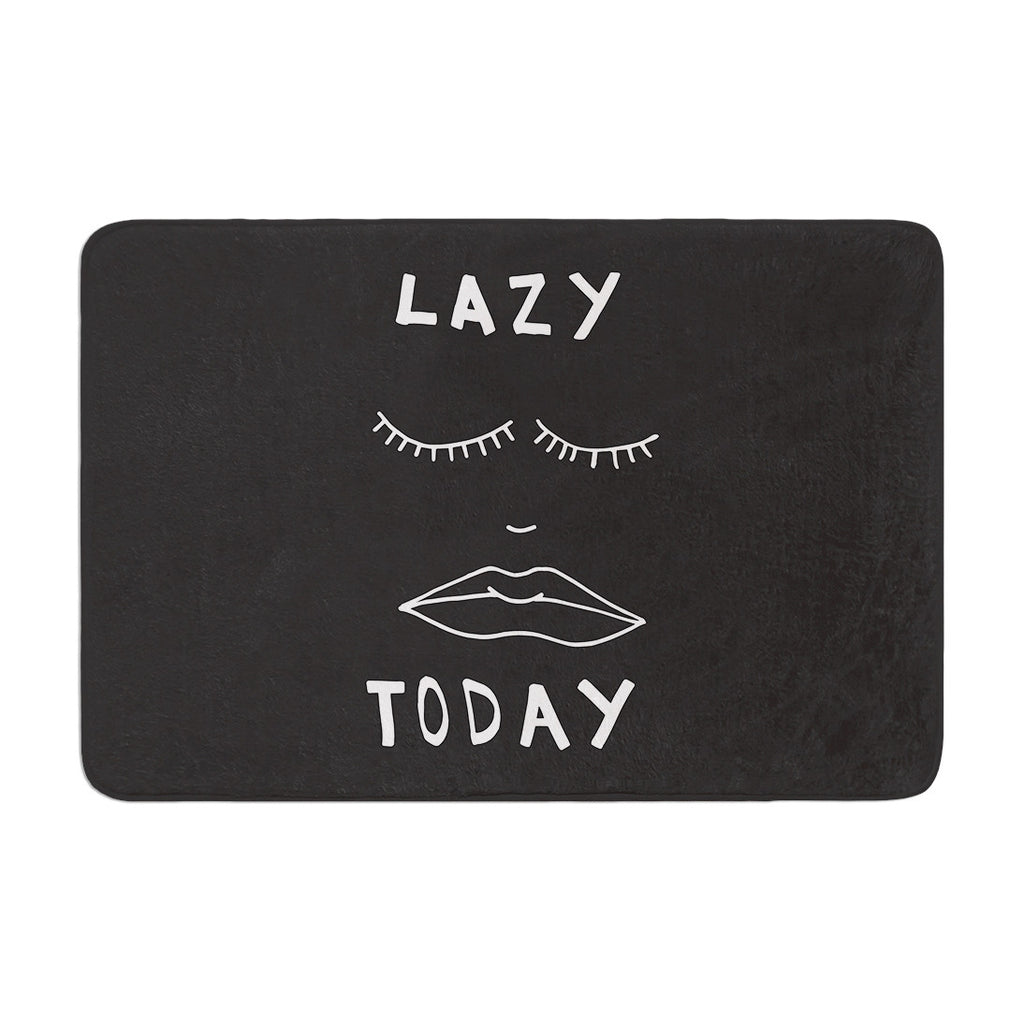 "Vasare Nar ""Lazy Today Grey"" Typography Gray Memory Foam Bath Mat - KESS InHouse"
