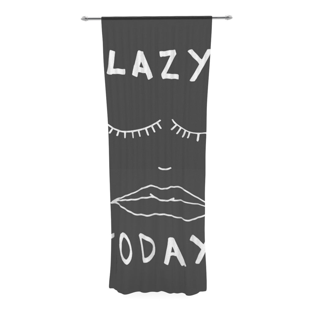 "Vasare Nar ""Lazy Today Grey"" Typography Gray Decorative Sheer Curtain - KESS InHouse  - 1"