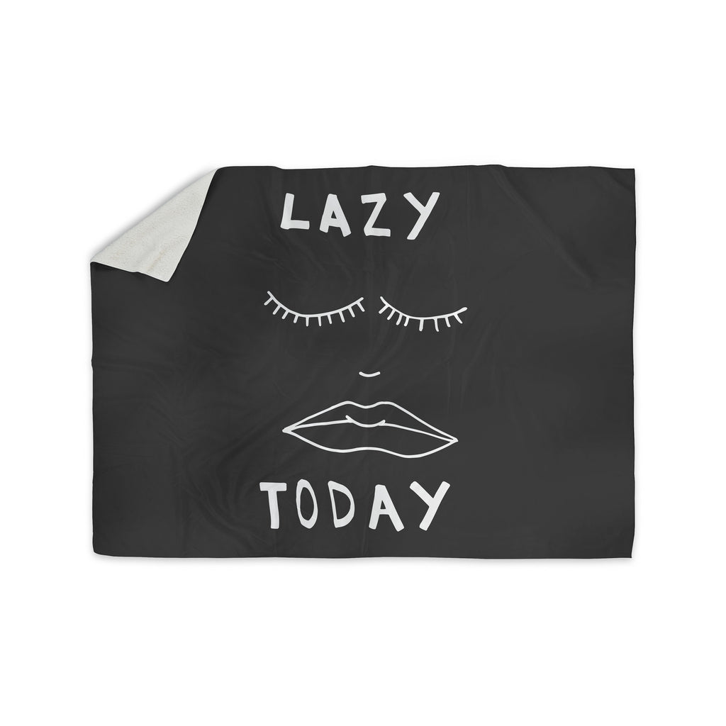 "Vasare Nar ""Lazy Today Grey"" Typography Gray Sherpa Blanket - KESS InHouse  - 1"