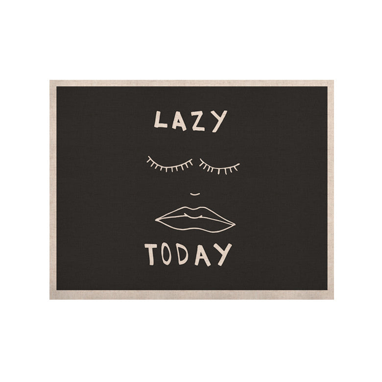 "Vasare Nar ""Lazy Today Grey"" Typography Gray KESS Naturals Canvas (Frame not Included) - KESS InHouse  - 1"