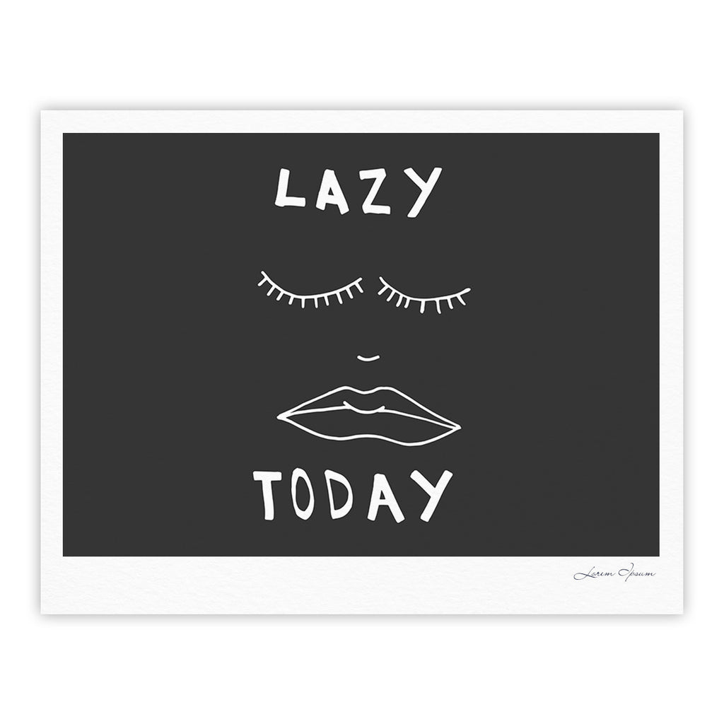 "Vasare Nar ""Lazy Today Grey"" Typography Gray Fine Art Gallery Print - KESS InHouse"