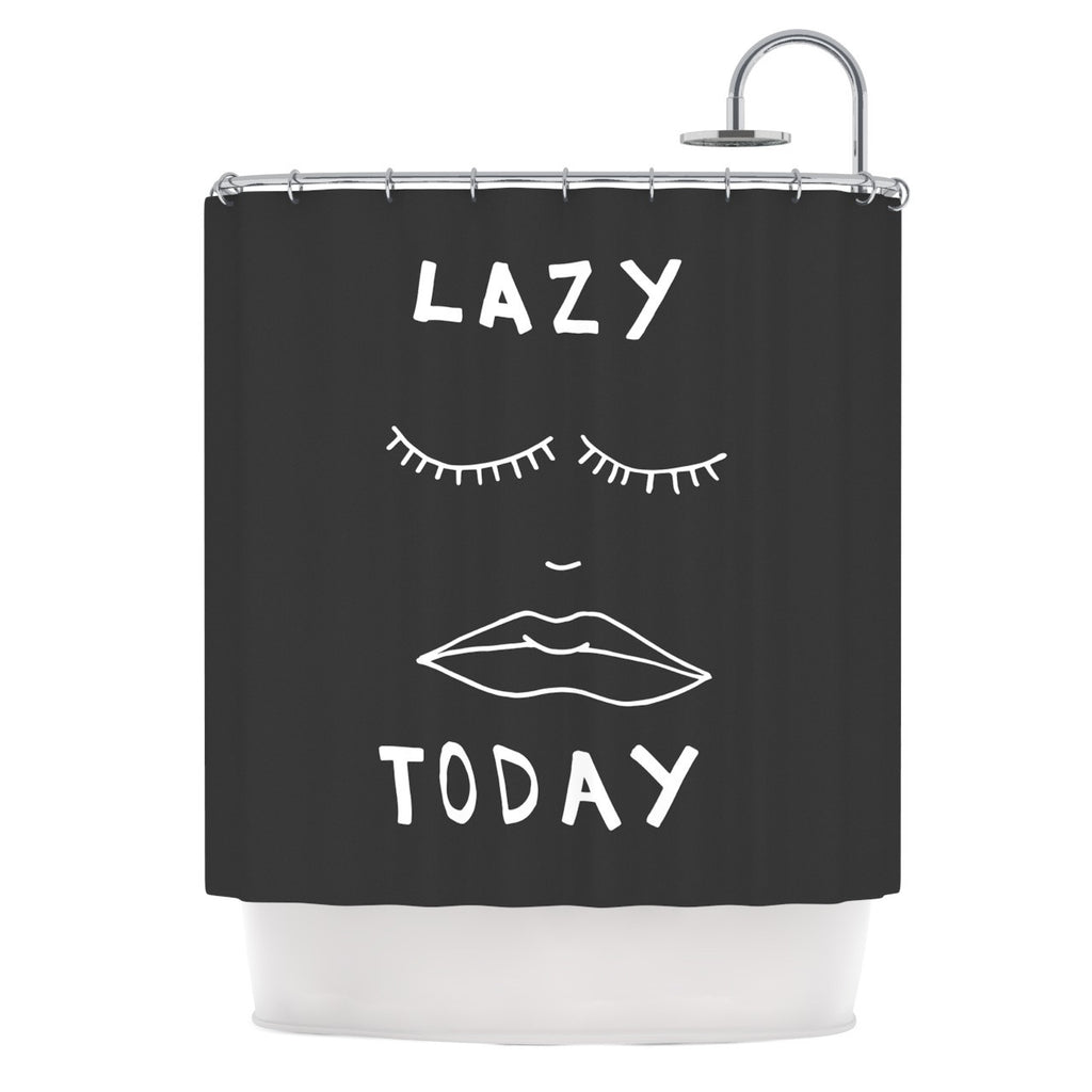 "Vasare Nar ""Lazy Today Grey"" Typography Gray Shower Curtain - KESS InHouse"