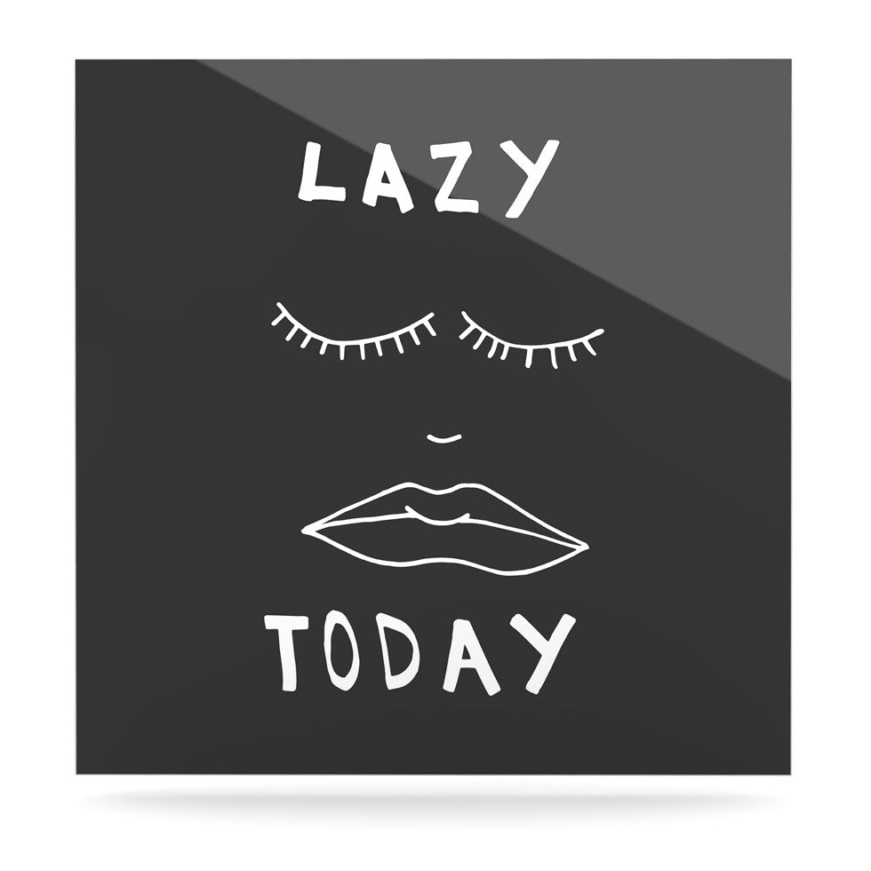 "Vasare Nar ""Lazy Today Grey"" Typography Gray Luxe Square Panel - KESS InHouse  - 1"