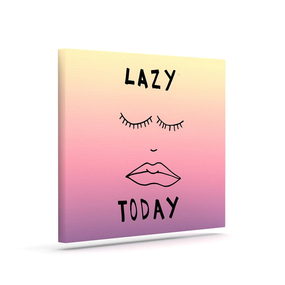 "Vasare Nar ""Lazy Today Tropical"" Yellow Pink Canvas Art - KESS InHouse  - 1"