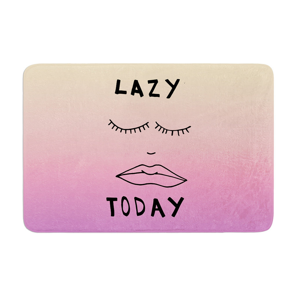 "Vasare Nar ""Lazy Today Tropical"" Yellow Pink Memory Foam Bath Mat - KESS InHouse"