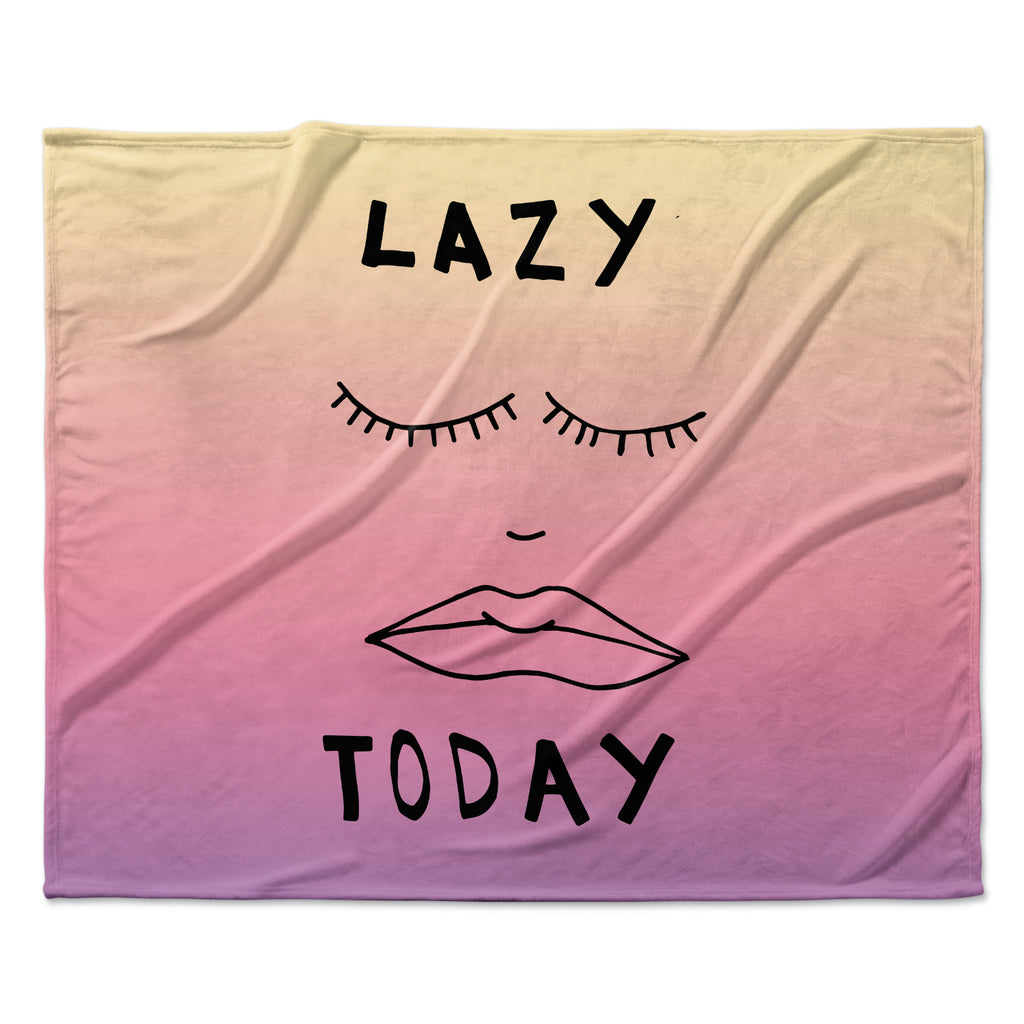 "Vasare Nar ""Lazy Today Tropical"" Yellow Pink Fleece Throw Blanket"