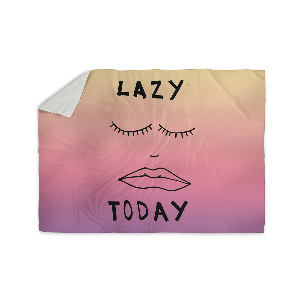 "Vasare Nar ""Lazy Today Tropical"" Yellow Pink Sherpa Blanket - KESS InHouse  - 1"