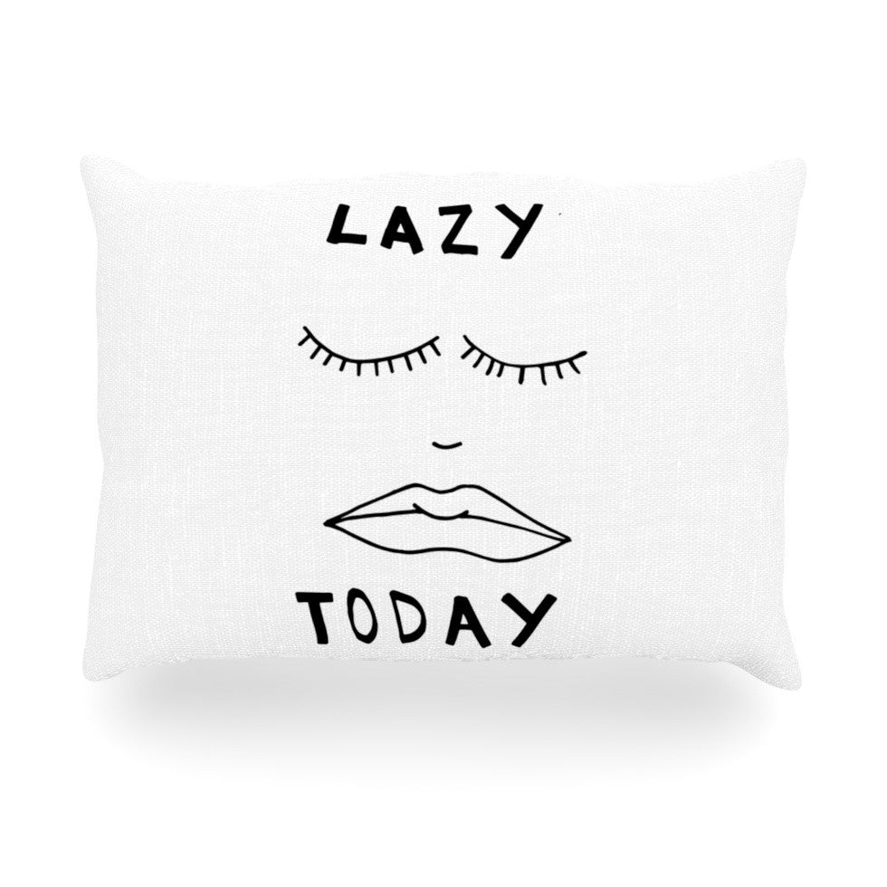 "Vasare Nar ""Lazy Today White"" Typography Oblong Pillow - KESS InHouse"
