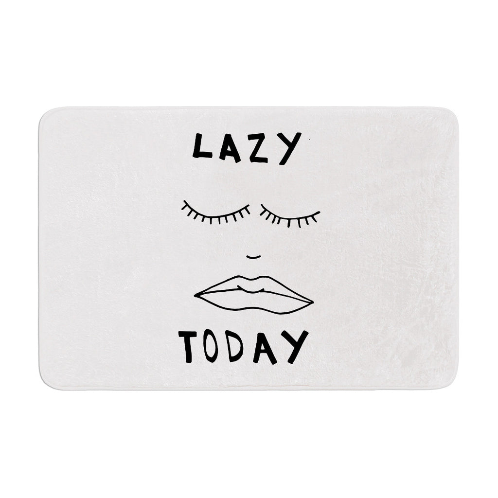 "Vasare Nar ""Lazy Today White"" Typography Memory Foam Bath Mat - KESS InHouse"