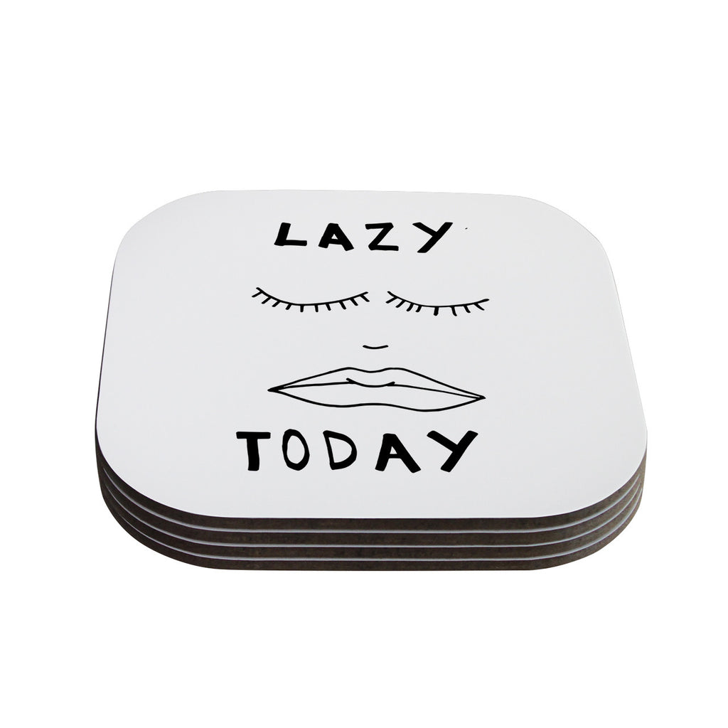 "Vasare Nar ""Lazy Today White"" Typography Coasters (Set of 4)"