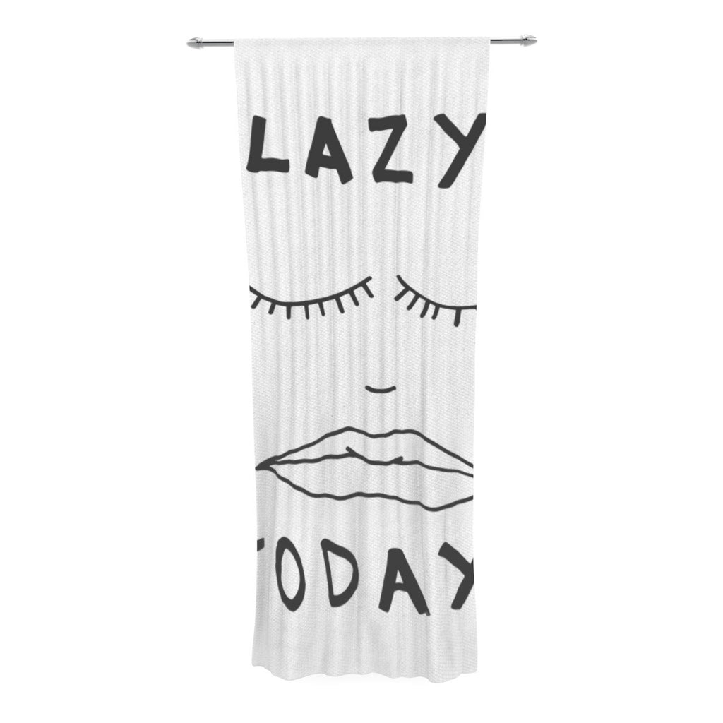 "Vasare Nar ""Lazy Today White"" Typography Decorative Sheer Curtain - KESS InHouse  - 1"