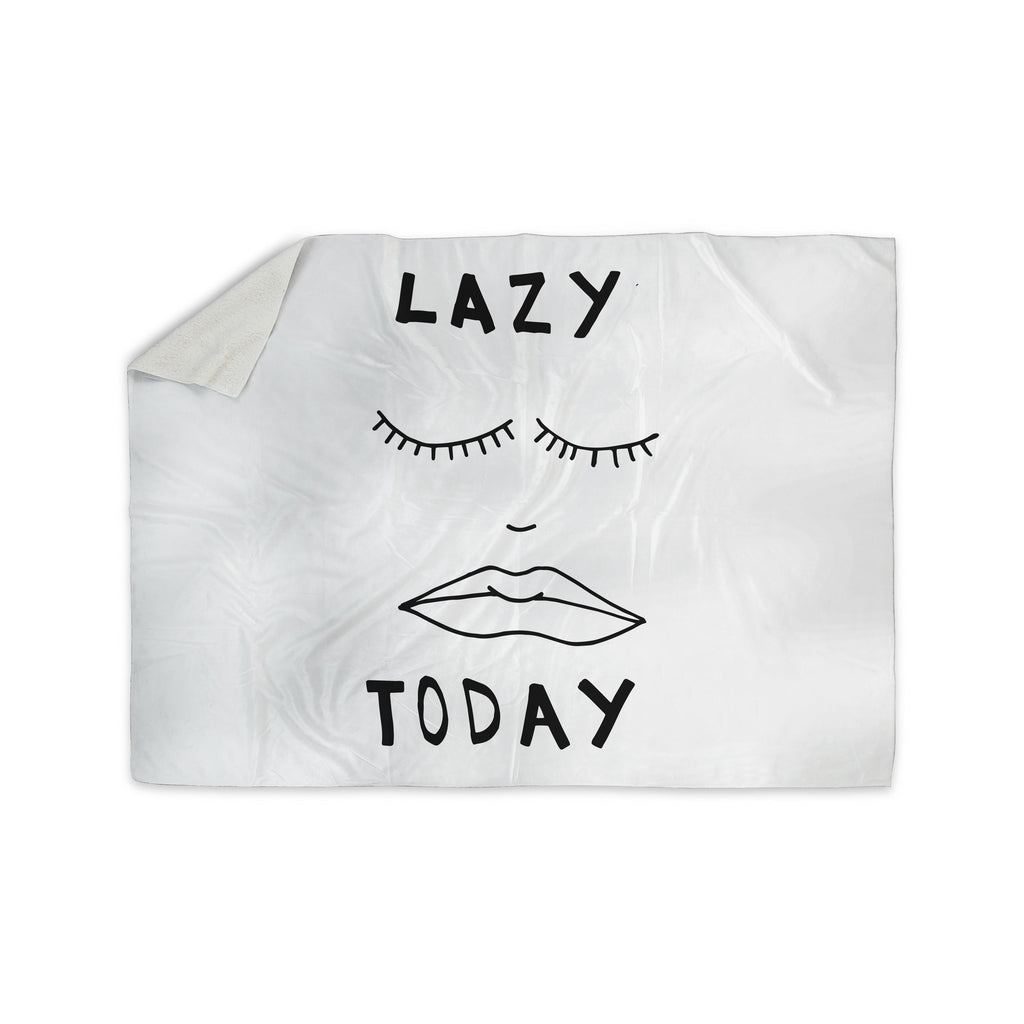 "Vasare Nar ""Lazy Today White"" Typography Sherpa Blanket - KESS InHouse  - 1"