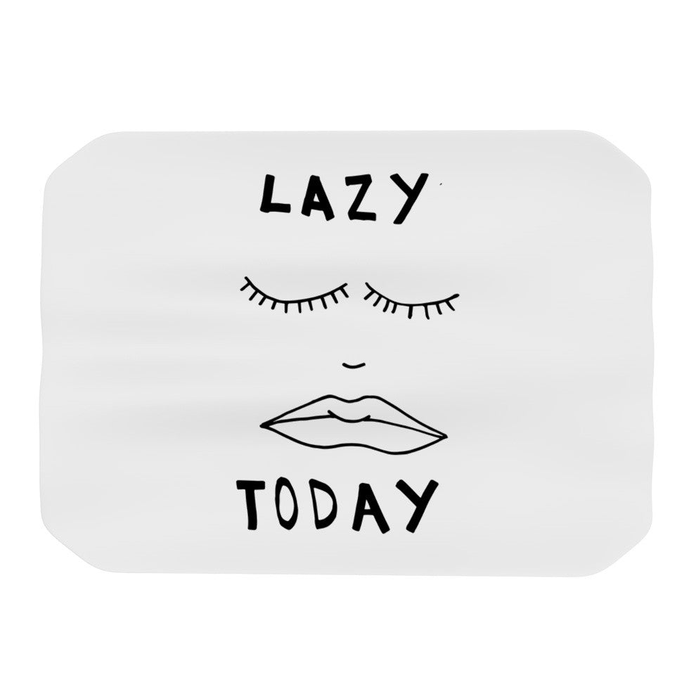 "Vasare Nar ""Lazy Today White"" Typography Place Mat - KESS InHouse"