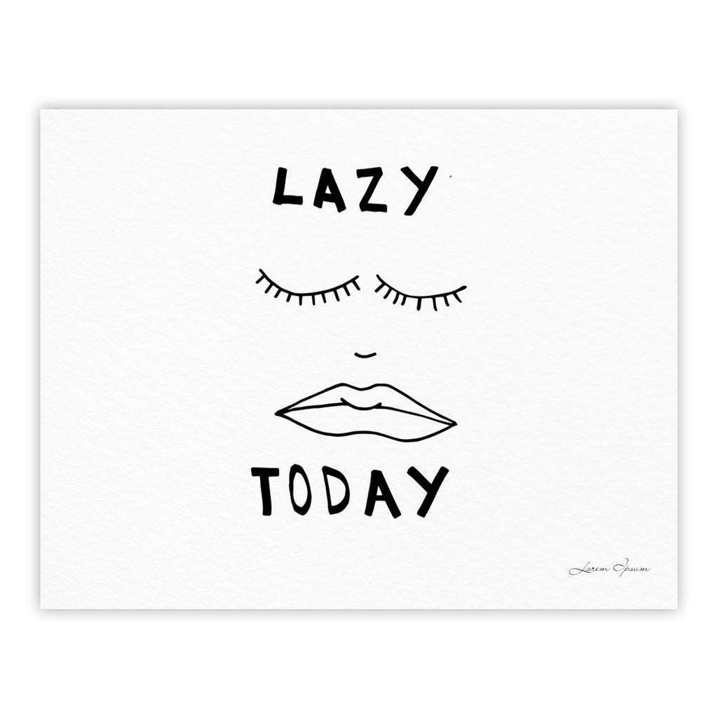 "Vasare Nar ""Lazy Today White"" Typography Fine Art Gallery Print - KESS InHouse"