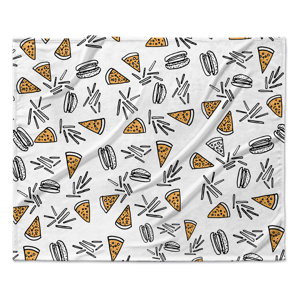 "Vasare Nar ""Burgers & Pizza"" Food Fleece Throw Blanket"