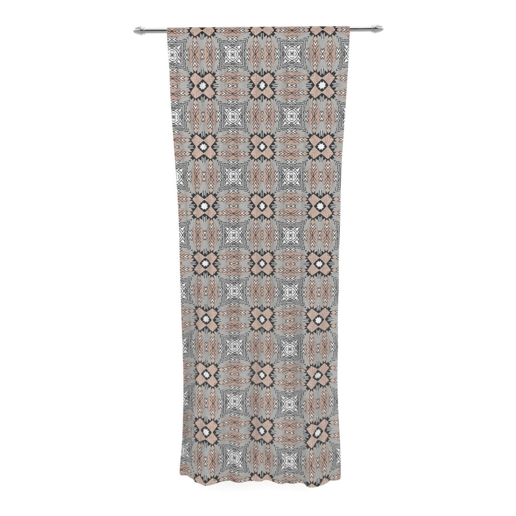 "Vasare Nar ""African Nomad"" Brown Pattern Decorative Sheer Curtain - KESS InHouse  - 1"