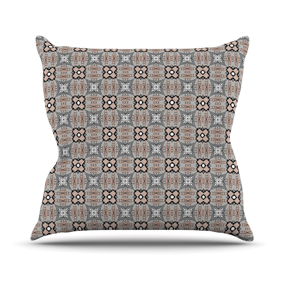 "Vasare Nar ""African Nomad"" Brown Pattern Throw Pillow - KESS InHouse  - 1"