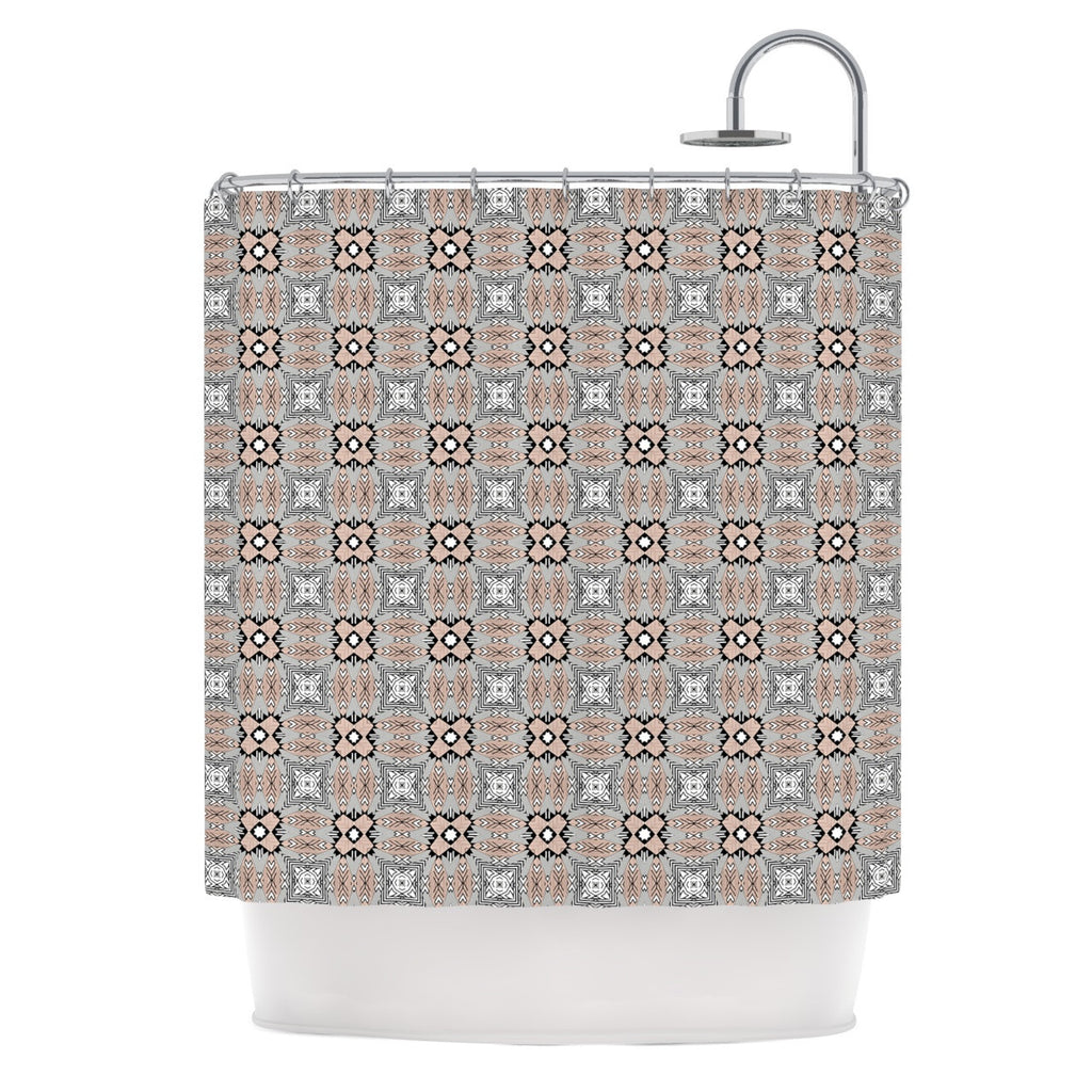 "Vasare Nar ""African Nomad"" Brown Pattern Shower Curtain - KESS InHouse"