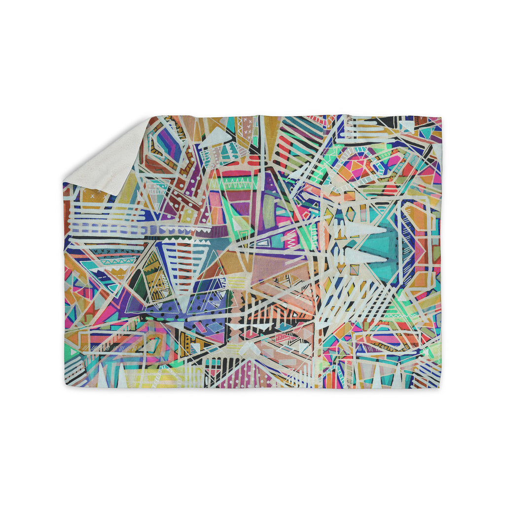 "Vasare Nar ""Abstract Geometric Playground"" Multicolor,Pastel Sherpa Blanket - KESS InHouse  - 1"