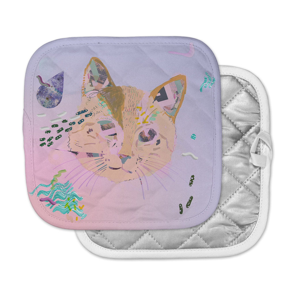 "Vasare Nar ""Psychedelic Cat"" Pastel Lavender Pot Holder"