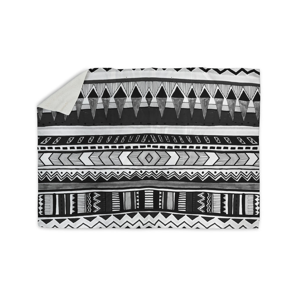 "Vasare Nar ""Tribal Black And White"" Geometric Gray Sherpa Blanket - KESS InHouse  - 1"