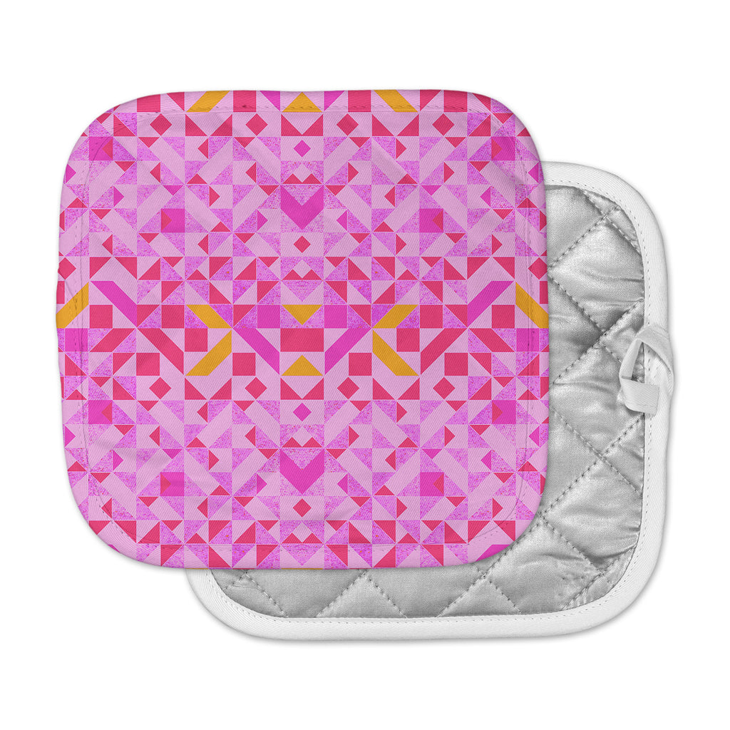 "Vasare Nar ""Candy Geometric"" Pink Geometric Pot Holder"