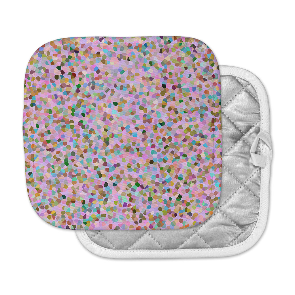 "Vasare Nar ""Candy Pink Confetti"" Pastel Abstract Pot Holder"