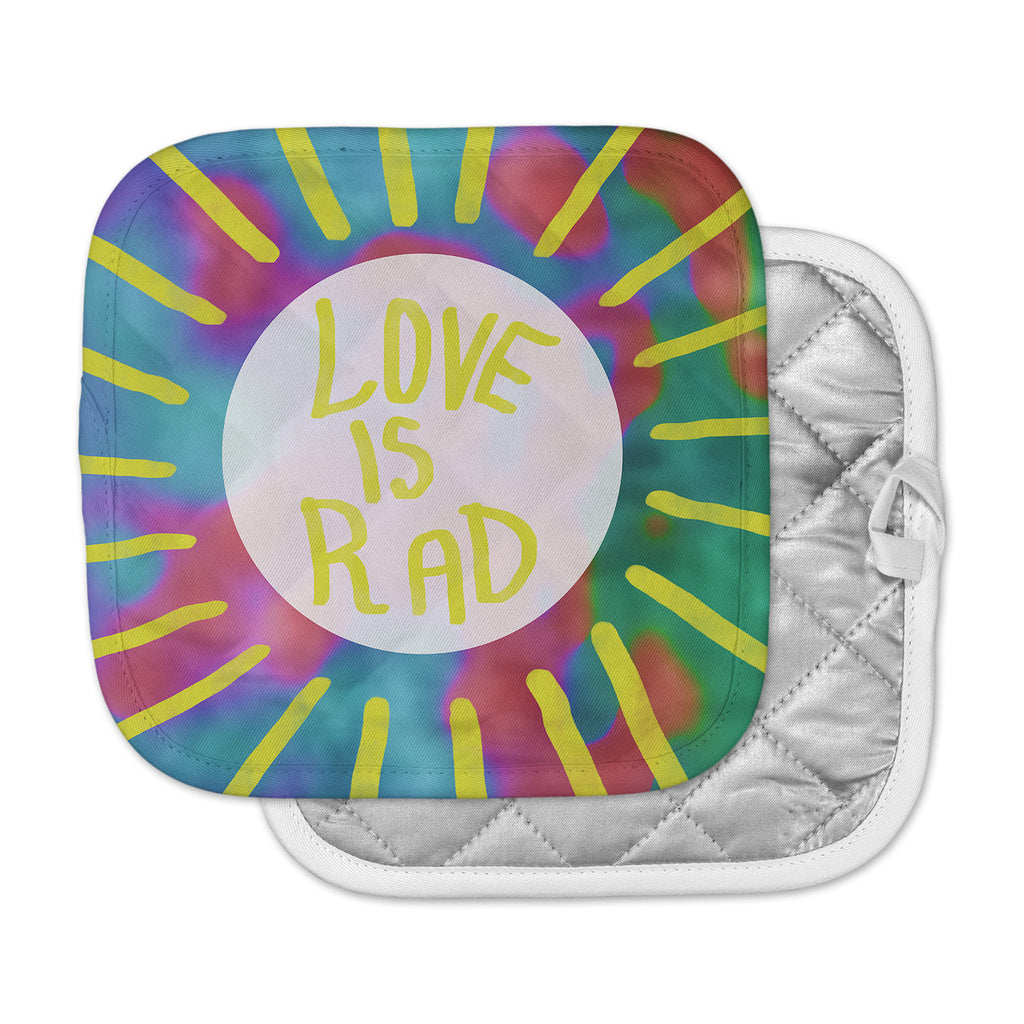 "Vasare Nar ""Love Is Rad"" Yellow Tyopgraphy Pot Holder"