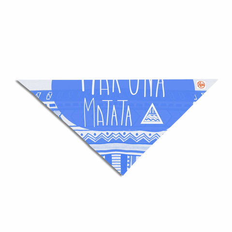 "Vasare Nar ""Hakuna Matata Azure Blue"" Blue White Illustration Pet Bandana - Outlet Item"