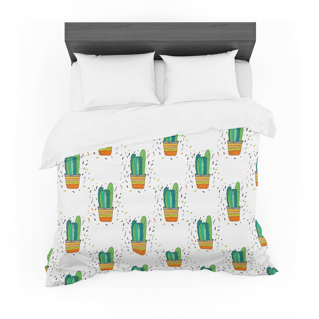 "Vasare Nar ""Cacti Cactus Fiesta"" Green White Art Deco Sage Featherweight Duvet Cover"