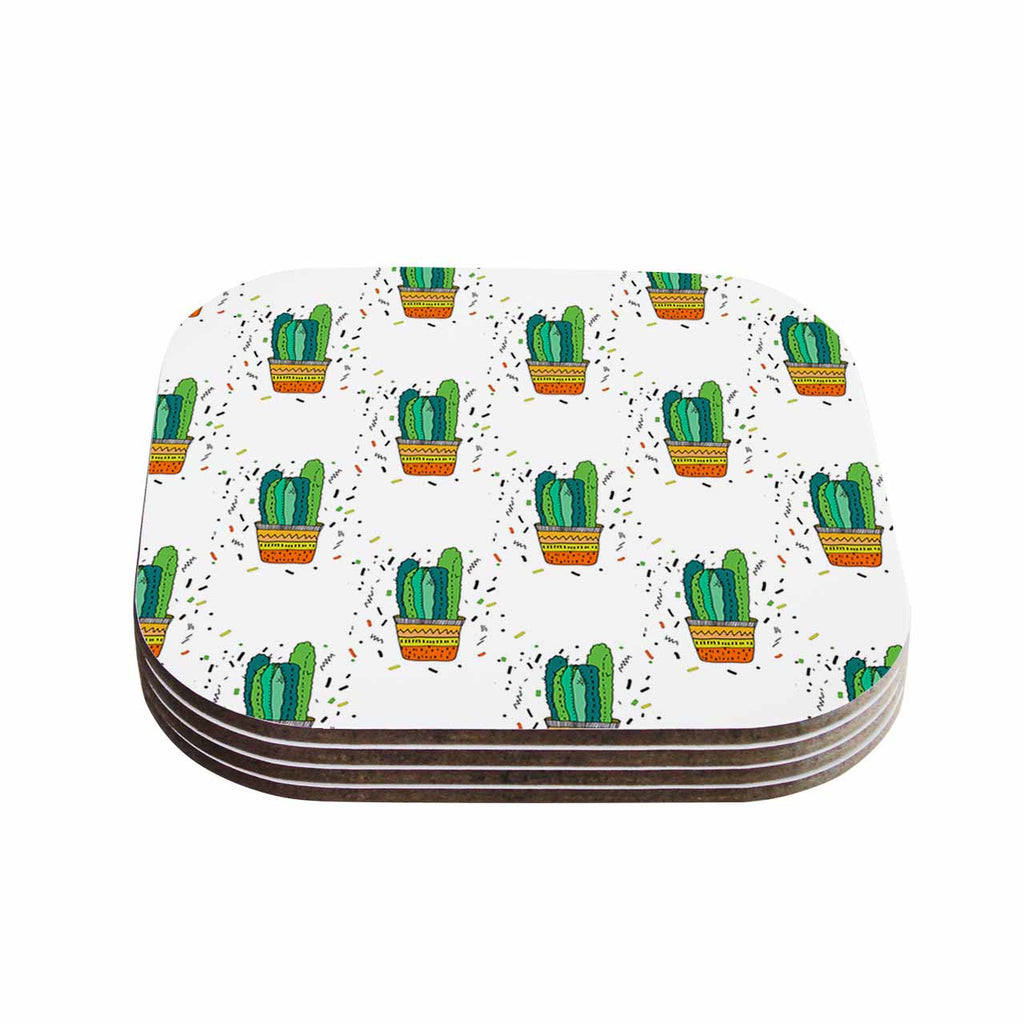 "Vasare Nar ""Cacti Cactus Fiesta"" Green White Art Deco Sage Coasters (Set of 4)"