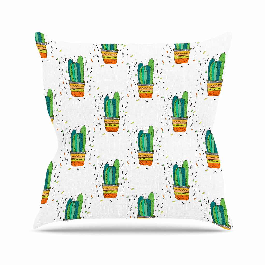 "Vasare Nar ""Cacti Cactus Fiesta"" Green White Art Deco Sage Throw Pillow"