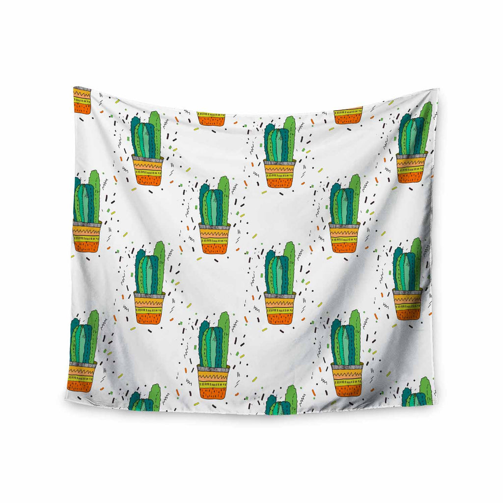 "Vasare Nar ""Cacti Cactus Fiesta"" Green White Art Deco Sage Wall Tapestry - KESS InHouse  - 1"