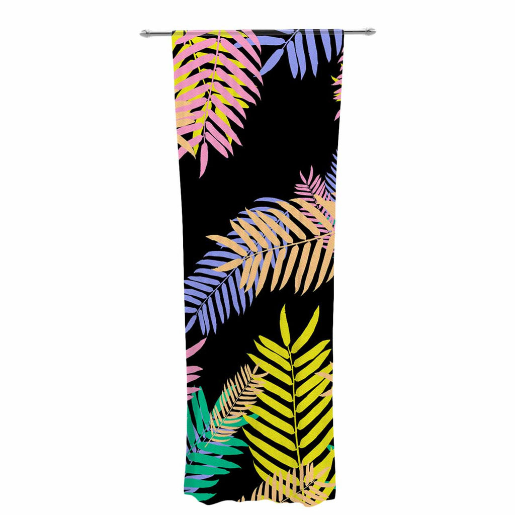 "Vasare Nar ""Tropical Palm 90s"" Black Multicolor Art Deco Floral Decorative Sheer Curtain"