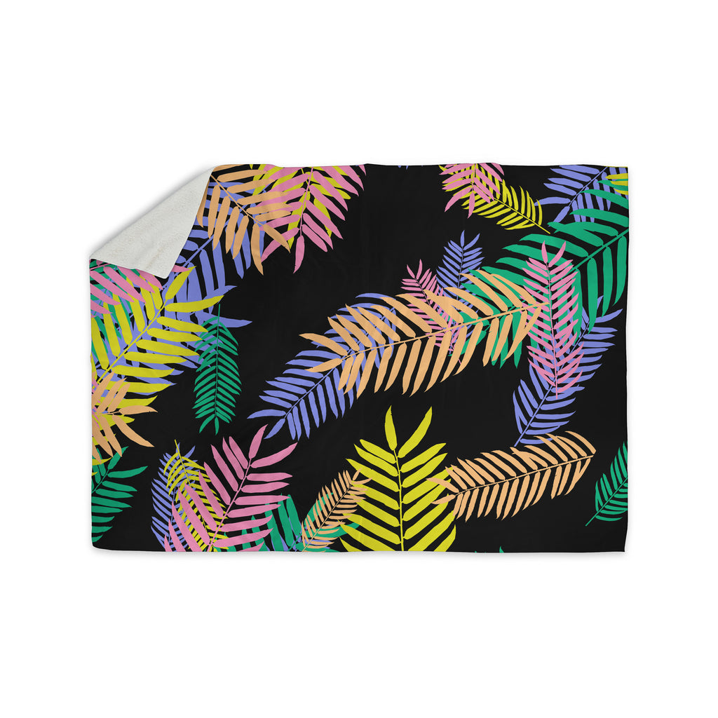 "Vasare Nar ""Tropical Palm 90s"" Black Multicolor Art Deco Floral Sherpa Blanket - KESS InHouse"
