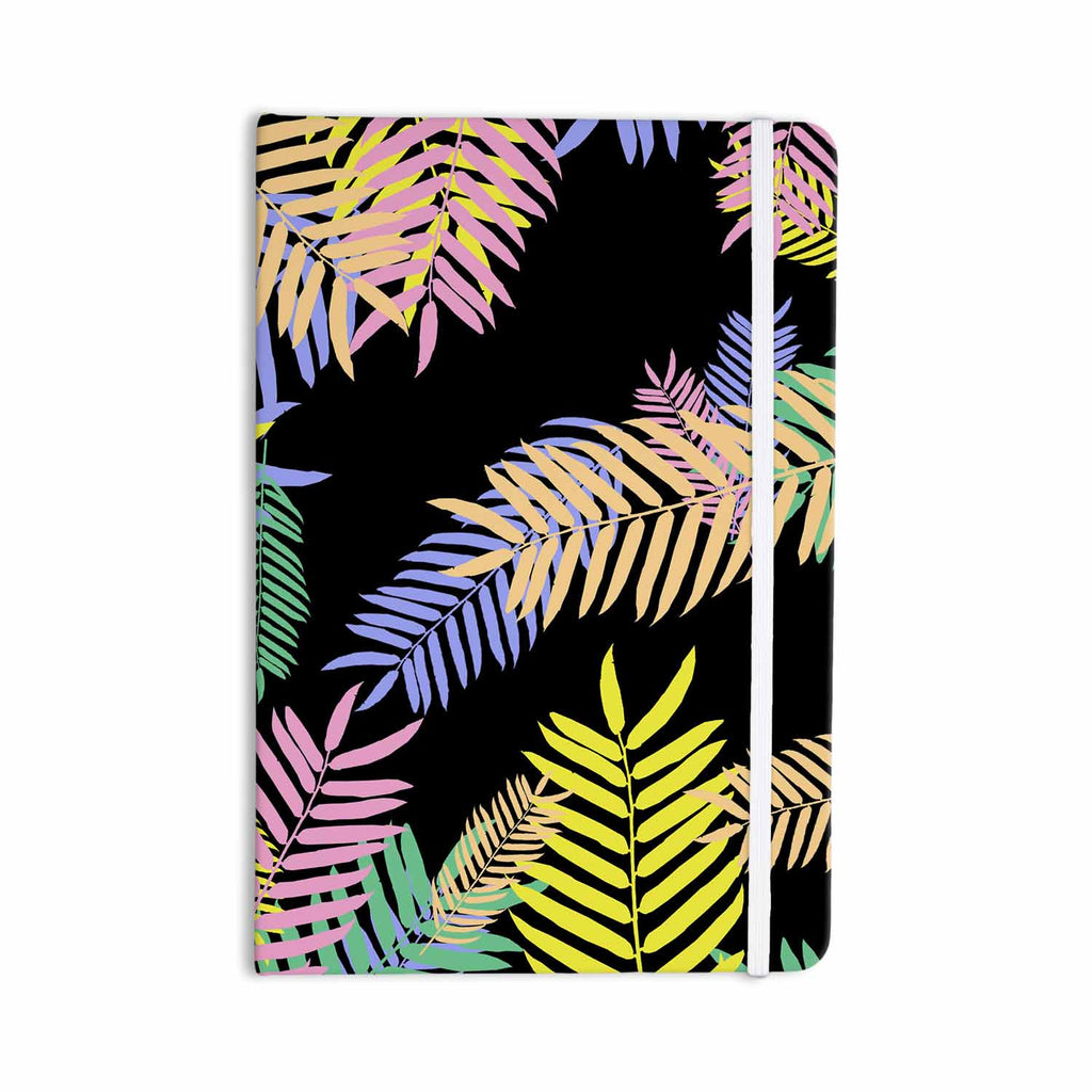 "Vasare Nar ""Tropical Palm 90s"" Black Multicolor Art Deco Floral Everything Notebook - KESS InHouse  - 1"