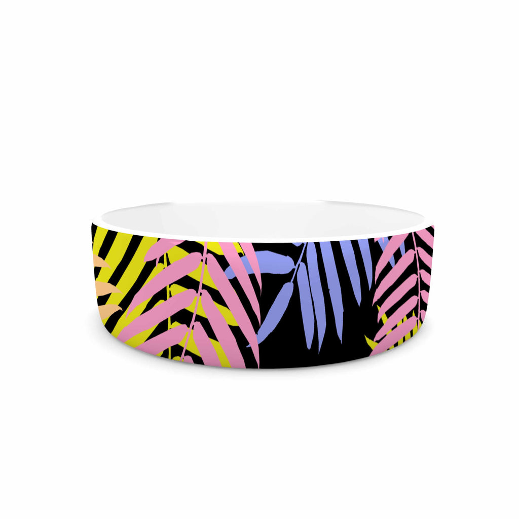 "Vasare Nar ""Tropical Palm 90s"" Black Multicolor Art Deco Floral Pet Bowl"