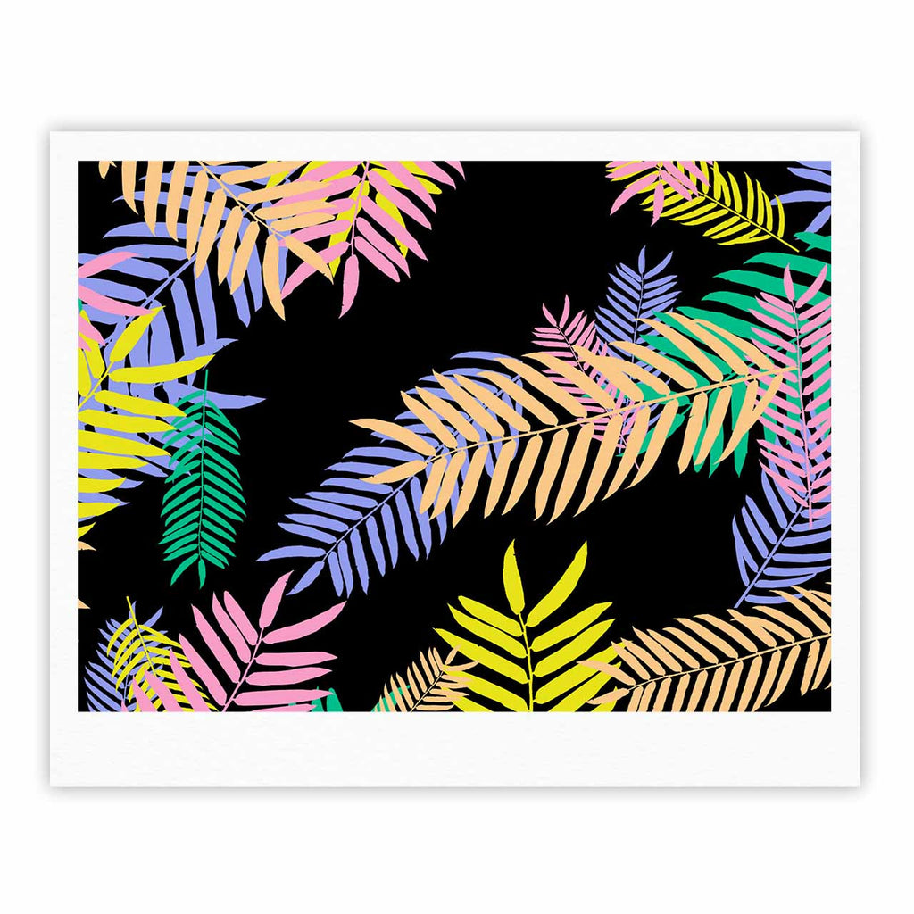 "Vasare Nar ""Tropical Palm 90s"" Black Multicolor Art Deco Floral Fine Art Gallery Print"