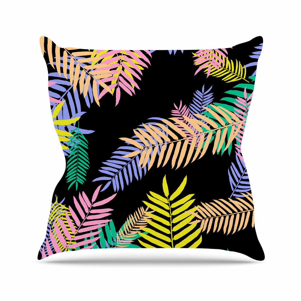 "Vasare Nar ""Tropical Palm 90s"" Black Multicolor Art Deco Floral Throw Pillow"