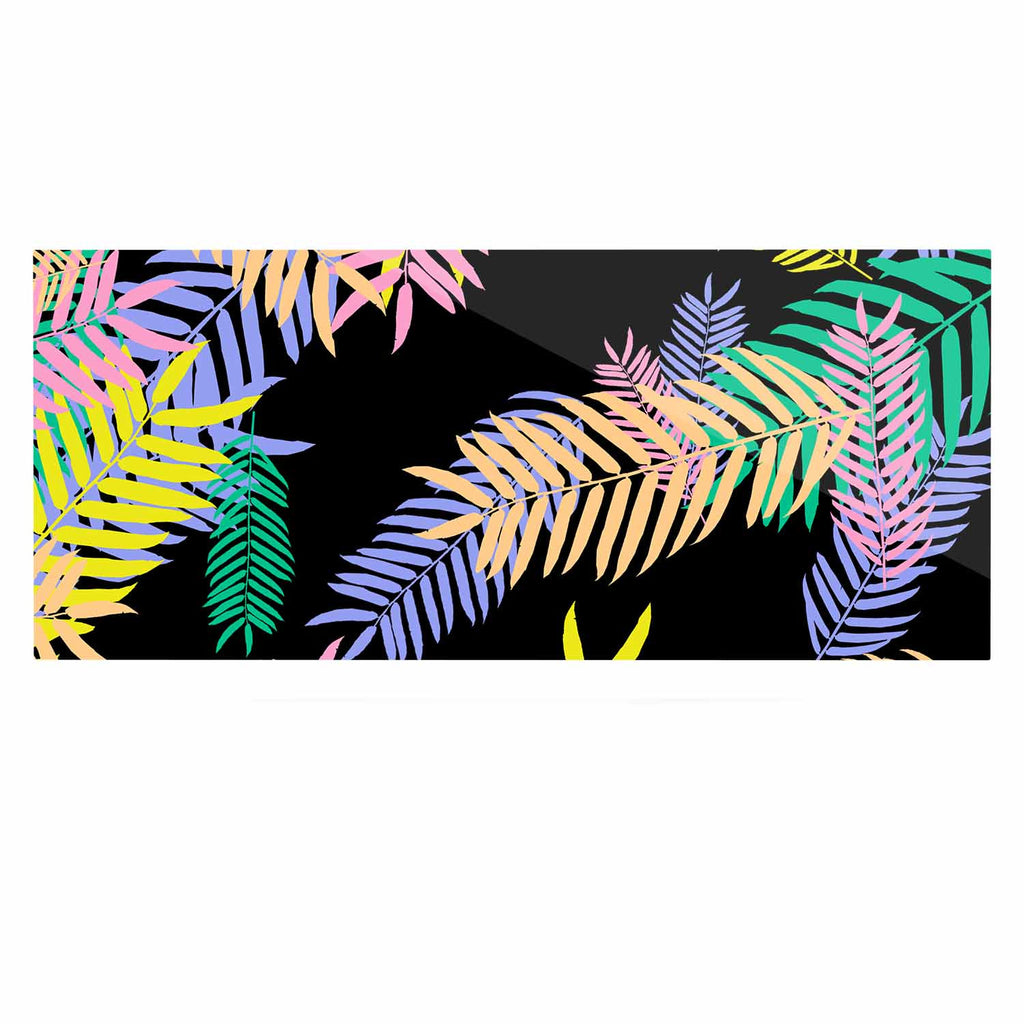 "Vasare Nar ""Tropical Palm 90s"" Black Multicolor Art Deco Floral Luxe Rectangle Panel"